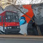 В Алматы появился стрит-арт с автобусом «Икарус», Цоем и гостиницей «Казахстан»
