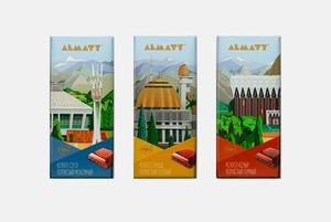 Шоколад с иллюстрациями Алматы от Мурата Дильманова
